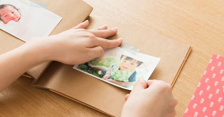 子供の写真整理をしているところ